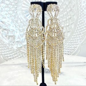 "5"" Rhinestone Curtain Shimmer Chandelier Earrings"